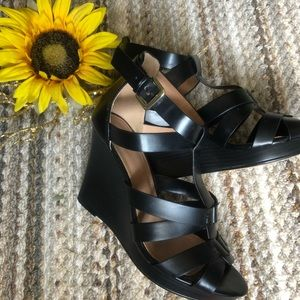 H&M size 6 strappy black wedge heels